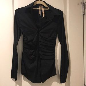 XS Bailey 44 Tight fitting Black Collared Top